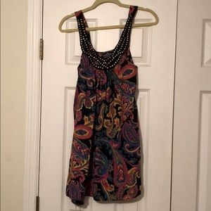 Black and multicolored paisley dress